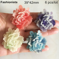 плоские пластиковые прелести оптовых-6 шт. -39 * 42 мм большие смоляные цветочные подвески, пластиковые цветы пиона, розовый, фиолетовый, белый, синий, плоская задняя кабошон из смолы