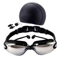 Wholesale nose caps resale online - Women Men Waterproof Anti Fog Uv Protection Surfing Swimming Goggles Professional Swim Glasses Swim Caps Earplugs Nose Clip Se