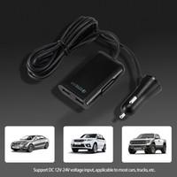 iphone araba fişi toptan satış-50 adet / grup 4 USB QC 3.0 Araç Şarj Hızlı Şarj 3.0 Telefon Araba Hızlı Ön Arka Şarj Adaptörü Araç Taşınabilir Şarj Tak iphone