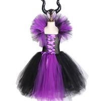 kraliçe kız kostümü toptan satış-Maleficent Evil Kraliçe Kızlar Tutu Elbise Boynuzları Ile Cadılar Bayramı Cosplay Cadı Kostüm Kızlar Çocuklar Parti Elbise Çocuk Giyim Için Y19061303
