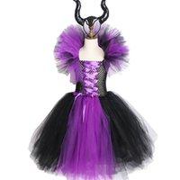 ingrosso regina bambini-Maleficent evil queen ragazze tutu dress con corna di halloween cosplay costume da strega per le ragazze bambini party dress abbigliamento per bambini Y19061303