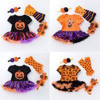 sapato de bebê menina headbands venda por atacado-Conjuntos de roupas de crianças de halloween de manga curta vestido estampado de abóbora + legging + sapatos + bandana de quatro peças macacão de bebê menina romper roupas M126