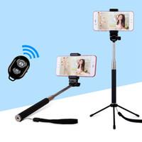 handheld-einbeinstativ großhandel-3 in einem Handheld Selfie Sticks + Einzigartiges Stativ + Bluetooth Remote Fotografieren für iPhone Android Remote Handheld ausziehbares Einbeinstativ
