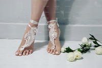 Wholesale anklet accessories resale online - Beach Lace Wedding Barefoot Sandals Shoes Bridesmaid Gift wedding sandals Bridal Anklet Strap Wedding Accessories Cheap High Quality