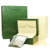 caixas de relógio de luxo venda por atacado-Frete Grátis Relógio de Luxo Verde Caixa Original Papers Presente Relógios Caixas de saco De Couro do cartão da bolsa 0.8 KG Para Rolex Watch Box
