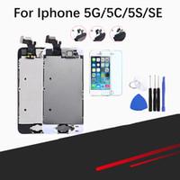 дигитайзер с сенсорным экраном iphone 5c оптовых-Полная сборка ЖК-экран для iPhone 5 / 5C / 5S / SE ЖК-дисплей сенсорный ЖК-экран Digitizer полная замена Pantalla + кнопка + камера