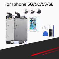iphone 5c 5s lcd venda por atacado-Completa assembléia tela lcd para iphone 5 / 5c / 5s / se lcd display lcd touch screen digitador completa substituição pantalla + botão + câmera