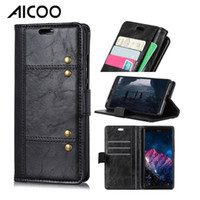 Wholesale alcatel hybrid cases for sale - AICOO Wallet Phone Case with Kickstand TPU PU Hybrid Card Insertion Horizontally Open Phone Case for iPhone Samsung Alcatel Huawei OPP
