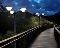 Wholesale planter light resale online - 15W heads Outdoor Solar LED Street Light dusk to dawn for Patio Post Light Garden parthway planter M high