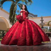 Wholesale satin wedding dresses dubai resale online - Muslim Dark Red Off The Shoulder Lace Wedding Dresses Satin Appliqued Beaded Ruched Dubai Formal Party Wear Wedding Bridal Gowns BC3522
