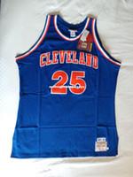 camisas de basquete azul venda por atacado-Mitchell Ness MN Costurado # 25 Mark Preço Top jersey NWT NOVO Mens Azul Vest Top Tamanho XS-6XL Costurado Basquete Camisas Ncaa