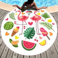seda usada al por mayor-Impresión Moda bufanda de seda Circular Toalla de playa Mantón Frutas Toalla de baño Sombrilla Colchón que cubre patrones múltiples Uso de vacaciones 19yd A1