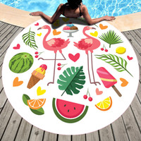 Wholesale use compressed towel resale online - Printing Fashion Silk Scarf Circular Beach Towel Shawl Fruits Bath Towel Sunshade Mattress Covering Multiple Patterns Holiday Use yd A1