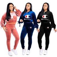 kadınlar polyester pamuk üstleri toptan satış-Bayan Eşofman Sweatsuit Üst ve Uzun Pantolon 2 Parça Kadın Set Kadın Pamuk Rahat Spor kadın eşofman kıyafetler artı boyutu