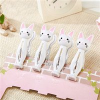 Wholesale plastic bookmark clips for sale - Group buy 4pcs Cat Cartoon Clip Laundry Photo Holder Bag Clips Strong Clothes pin Shape Receive A Clip Socks Hanging Pegs Clamps