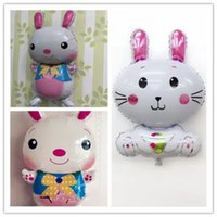Wholesale bunny balloon resale online - Cartoon Rabbit Shaped Aluminum Foil Balloon For Easter Day Bunny Helium Air Balloons Lovely Festival Supplies zz BB