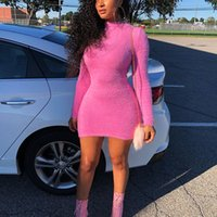 Wholesale cute fluffy dresses for sale - Group buy ANJAMANOR Hot Pink Long Sleeve Mini Bodycon Sexy Sweater Dress Winter Pink Fluffy Cute Party Club Wear Casual Vestidos D77 I80 Y200418