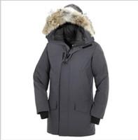 vestes imperméables chaudes pour hommes achat en gros de-Canada épais chaud vers le bas Veste d'impression Hommes Longue Section coupe-vent imperméable manteau d'hiver à capuchon de couleur solide Tide