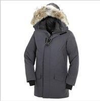 mens su geçirmez ceketler toptan satış-Kanada Kalın Aşağı Isınma Ceket Baskı Erkek Uzun Bölüm Windproof Su geçirmez Kış Coat Katı Renk Kapşonlu Tide