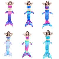 4t badeanzüge großhandel-Kleine Mädchen 3 Stück Meerjungfrau Schwanz zum Schwimmen Meerjungfrau Badeanzüge Badeanzug Bikini Set 3-12 Jahre