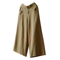 pantalones anchos culottes al por mayor-Nueva Moda Mujer Palazzo Cintura Alta Pierna Ancha Culottes Algodón Lino Pantalones Pantalones Sueltos W313