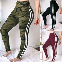 Wholesale polyester yoga pants for sale - Camouflage Striped Legging Women Sports Yoga Workout Side Striped High Waist Slim Fitness Athletic Skinny Pants OOA6521