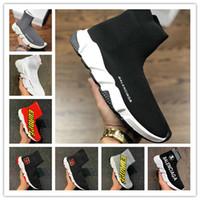 ingrosso stivali yoga-2019 Best Quality Speed Trainer Nero Designer Sneakers Uomo Donna Nero Rosso Casual Scarpe Moda Calze TopBalenciaga Boots Size36-45