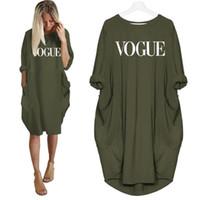 ingrosso fuori dalla spalla più-2019 New Fashion T-Shirt per Donna VOGUE Lettere Stampa Pocket Tops Harajuku T-Shirt Plus Size Grafica Tees Donna Off Shoulder