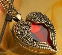 ingrosso collana di bronzo angelo delle ali-Gioielli vintage bronzo intagliato angelo ala cristallo rosso amore a forma di cuore ciondolo collana a catena regalo retrò fascino collane lunghe WCW104