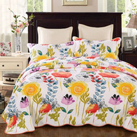 çiçekli kral boy yatak örtüleri toptan satış-ÇIÇEK Çiçek pamuk kapitone yorgan waterwash lüks Baskılı Amerikan Yatak Örtüsü Yatak 3 adet Bedcover yastık set kral