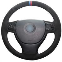 cuir de marqueur achat en gros de-Coudre à la main bricolage daim noir rouge marqueur marqueur rouge couvercle pour volant pour BMW F10 523Li 525Li 2009 730Li 740Li 750Li