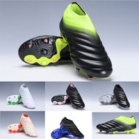 Wholesale newest outdoor soccer shoes resale online - 2019 Newest Mens Copa FG Soccer Shoes High quality Copa Slip On Laceless Waves design White Black Green football Shoes Boots