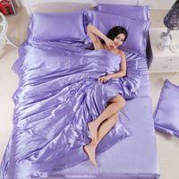 Wholesale silk satin duvet sets queen resale online - 100 Pure Satin Silk Bedding Sets Solid Corlors Home Textile King Size Bed Set Bedclothes Duvet Cover Flat Sheet Pillowcases