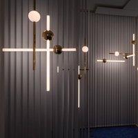 tienda de te al por mayor-Minimalista Line Art LED Versión horizontal Luces colgantes Metal Glow Ball Para Bar Cafe Tea Shop Ingeniería Escaleras Restaurante