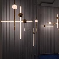 levou 4 'shop luzes venda por atacado-Minimalista Linha de Arte Luzes de Pingente de Versão Horizontal LED Metal Glow Ball Para Bar Café Tea Shop Escadas de Engenharia Restaurante