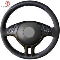 Black Suede Leather Steering Wheel Cover for BMW 3 Series E46 2000-2006 5 Series E39 2000-2003 E53 X5 Z3 E36 2000-2002