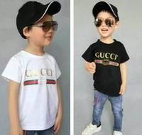 çocuklar moda baskılı teçhizat toptan satış-Moda Tasarımcısı Yaz 3-7 Yaşında Bebek Erkek Kız Baskı T-Shirt R Gömlek Pamuk Çocuk Tees Tops Çocuk Giyim