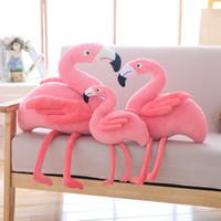 fotos de amor de bebe al por mayor-Ins Kids Baby Peluches Flamingo Dolls Pink Love Creativity Baby Edredón de juguete de peluche Animal apoyos de la foto decoración del hogar pequeño tamaño