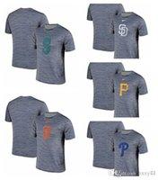 logotipo pirata venda por atacado-Marinheiros Seattle Giants San Francisco Padres Diego San Piratas Pittsburgh Phillies Filadélfia Cinza Preto Listrado Logo Desempenho T-Shirt