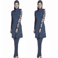 мусульманские перчатки оптовых-3 шт мусульманского Большого размера Купальник женского Консервативной Купальники исламской пляж платье Купание Swim Surf Wear Sport Bikinis S-6XL