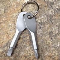 mini torx tornavida seti toptan satış-1 Takım EDC Paslanmaz Çelik İşlevli Tornavida Anahtar Şekli Mini Oluklu Phillips Tornavidalar Anahtarlık Cep Onarım Aracı