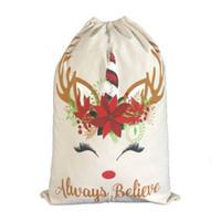 boa para decoração venda por atacado-Saco de presente de natal bonito cordão de lona unicórnio santa saco 2 estilo boa qualidade enfeite de natal decoração santa eea381