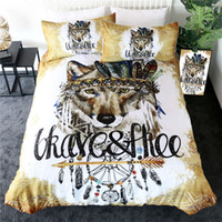 Wholesale wolf animal bedding set king resale online - Wolf Bedding Set Dreamcatcher Duvet Cover Set Native Tribal Animal Home Textiles Watercolor Bedclothes Piece