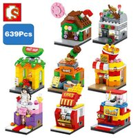Wholesale shopping games resale online - Sembo City Street Game BBQ Candy Fruit Fries Shop Store D Model DIY Mini Blocks Building Assembly Toy Fit Legoings Gift
