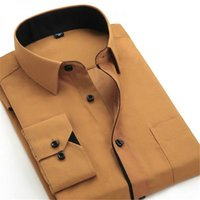 новые корейские стили блузки оптовых-2019 New Arrivals Casual Men's Long-sleeved Shirt Korean Style Formal Dress Man Shirt Patchwork White Office Navy Tops Blouse m