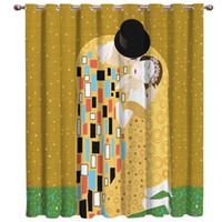 gelber schwarzer plaidstoff großhandel-Eine Überarbeitung der Gustav Klimt Kuss Zimmer Vorhänge Große Fenster Fenster Vorhänge Dunkle Vorhangbeleuchtung Wohnzimmer Badezimmer Schlafzimmer