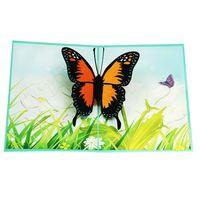tarjeta de felicitación hecha a mano de dibujos animados al por mayor-50 piezas encantadora 3D Pop-Up romántica tarjeta de felicitación de mariposas corte láser Animal postal dibujos animados hechos a mano regalo creativo RRA1912