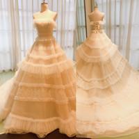 Wholesale fall wedding cakes for sale - Group buy Unique Wedding Dresses Cake Shape A Line with Court Train Lace Appliques Strapless Wedding Dresses Online Bridal Gowns Vestidos De Novia