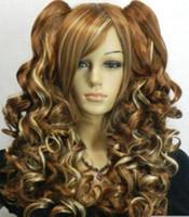 braune blonde mischung pferdeschwanz groihandel-GRATIS SHIPPIN + ++ + Lolita Long Wavy Dunkelbraun + Blonde Mixed Split Cosplay Perücke Pferdeschwanz