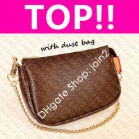 M58009 MINI POCHETTE ACCESSOIRES N58009 Iconic Fashion Womens CANVAS Pouch Evening Clutch Zippy Chain Wallet Coin Purse Phone Sling Bag
